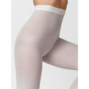 American Apparel Sparkle Pantyhose in Silver XS/S